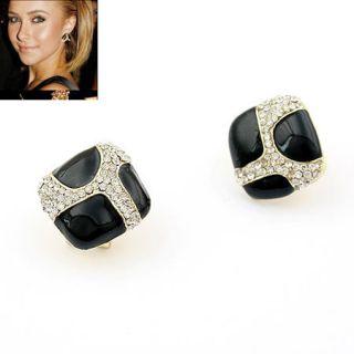 Retro Style Vintage Black Square White Crystal Glaze Stud Earrings