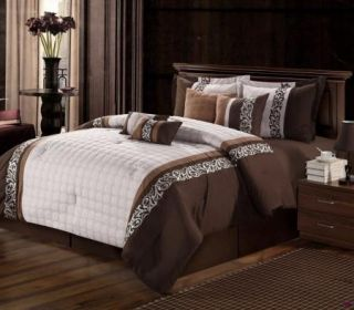 12pc King Glendale Beige Chocolate Embroidered Bed in A Bag Comforter