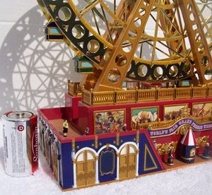 CHRISTMAS WORLDS FAIR MUSIC GRAND FERRIS WHEEL ANIMATED MINI VILLAGE