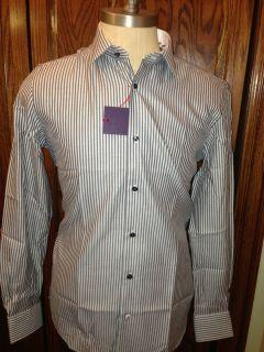 Robert Graham White w Grey Textured Dress Shirt 15 5