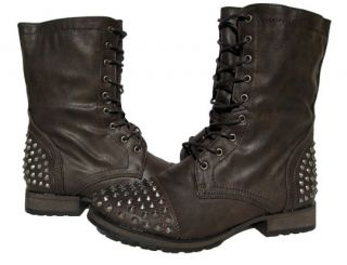 Womens Spiky Studded Lace Up Boots Brown Winter Snow Shoes Ladies