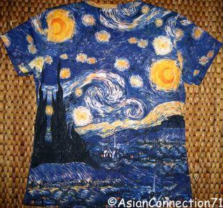 Starry Night New Van Gogh Art T Shirt Misses s M L XL