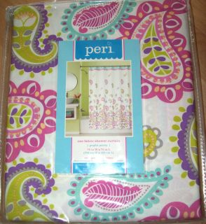 New Peri Fabric 70 x 72 Shower Bath Curtain Graphic Paisley Purple