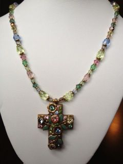 Michal Golan Rose Garden Cross Swarovski Crystals