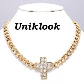 Clear Crystal Cross Pendant Bold Gold Chain Design Jewelry 18 Necklace