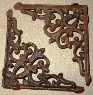Large Cast Iron Victorian Heart Shelf Brackets Brown Finish Bracket