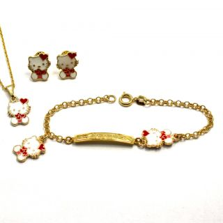 Set Gold 18K GF Earrings Girl Red Heart Hello Kitty Necklace Bracelet