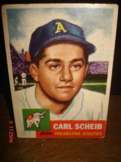 1953 Topps Carl Scheib Card 57 Philadelphia Athletics