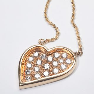 Yellow Gold Diamond Heart Pendant Necklace Estate Fine Jewelry