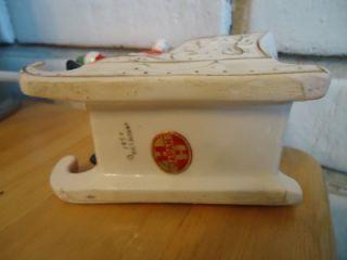 Holt Howard Santa on Sleigh Has Sticker Vintage Japan Gold Trim