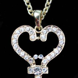 Gold White Rhinestone Jewel Love Key to My Heart Pendant Necklace