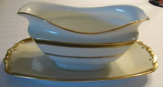Royal Epiag Gold Encrusted Gravy Boat Greek Key Design Czechoslovakia