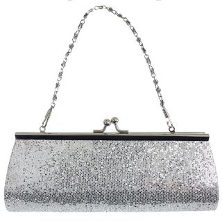 Silver Glitter Kisslock Chain Clutch Evening Handbag