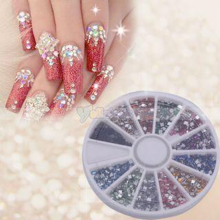 Art Rhinestone Square Shapes Glitters Tips Manicure Deco Wheel