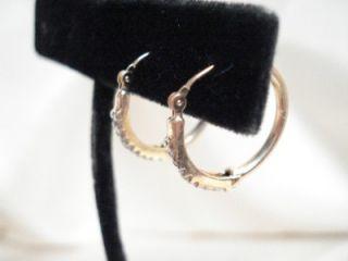 Vintage 14k Yellow Gold Diamond Hoop Earrings Signed Sun