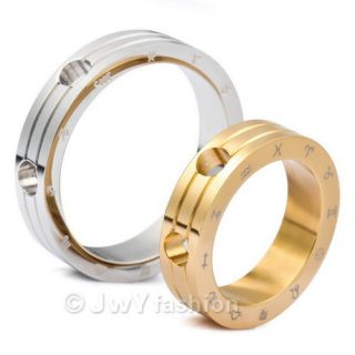 Silver Gold Stainless Steel Zodiac Pendant Couple Rings