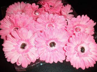 Wholesale Lot 12 Pink Gerbera Daisy Flower Crafts Hair Tutu Flip Flops