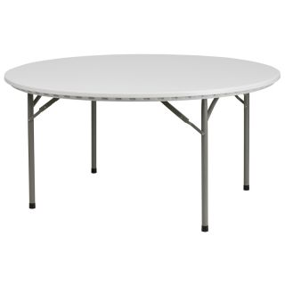 Flash Furniture 60 Round Granite White Plastic Folding Table