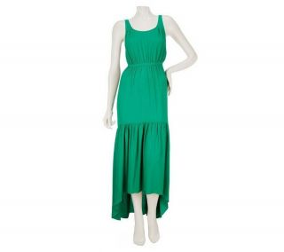 GF Geren Ford Sleeveless High Low Maxi Dress Elastic Emerald 1X NEW