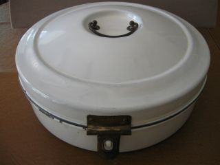 Antique Enamel Granite Ware Bread Box Round from Germany