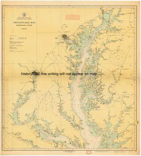 1916 Chesapeake Bay Large Nautical Chart Map