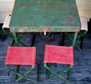 RARE Coleman Green Folding Camp Table 4 Chairs Stools
