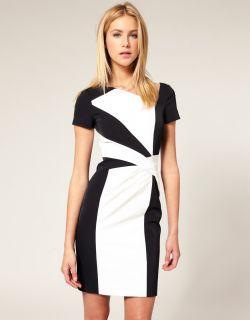 Karen Millen Black White Graphic Colour Block DL013 Pencil Party Dress