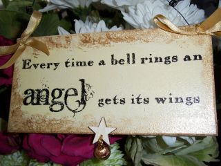 Time A Bell Rings An Angel Gets Its Wings Christmas Sign Plaque