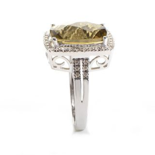 14k White Gold Diamond Green Quartz Ring