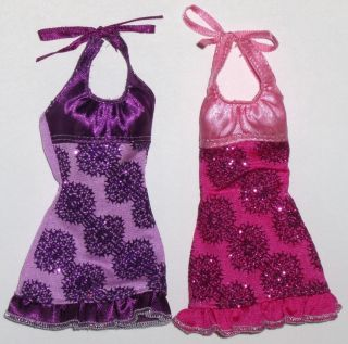 Barbie Fashion 2 DRESSES PINK PURPLE OUTFIT Doll Clothes