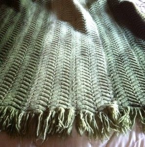 Green Herringbone Afghan Throw Blanket with Fringe