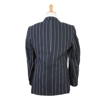 Gianfranco Ferre Studio Dark Blue 100 Linen Two Button Striped Suit US