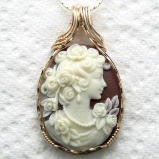 Goddess Rose Cameo Pendant 14k Rolled Gold Artisan Wire Jewelry