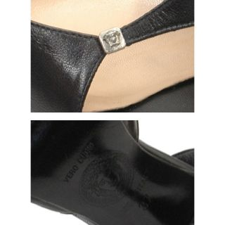 Auth Gianni Versace Made in Italy Black Open Toe Slingback Heels Pumps