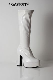 60s 70s White Platform Retro GoGo Boots for ABBA Nights Sz 4 37