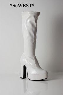 60s 70s White Platform Retro GoGo Boots for ABBA Nights Sz 4 37