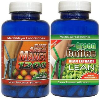 BOTTLE AFRICAN MANGO 1200 (60 Capsules) & 1 BOTTLE PURE GREEN COFFEE
