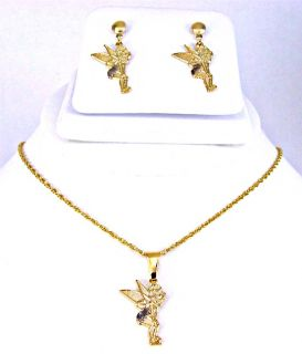 Set Gold 18k GF Fairy Tinkerbell Magic Pendant Earrings Charm & Chain