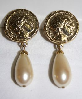 Signed Carolee Costume Jewelry Gold Tone Roman Coin Faux Pearl Clip on