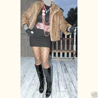 In Style Crop Demi Buff Brown Mink Fur Coat Jacket S