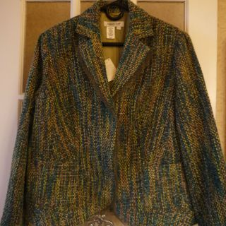 Coldwater Creek Green Blue Tweed Jacket Blazer Sz 1x NWT Tulle Detail