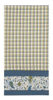 Country Primitive Mist Blue Green Plaid Floral Dish Towel from IHF