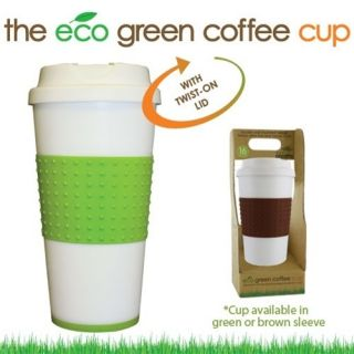 16 oz Biodegradable Eco Green Coffee Cups with Twist on Lid