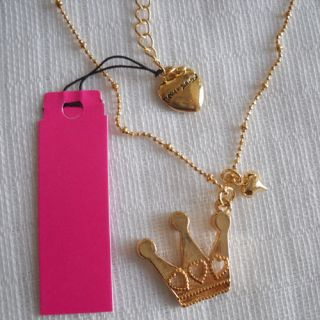 Betsey Johnson Pendant Necklace Gift Gold Tone Rhinestone Crown
