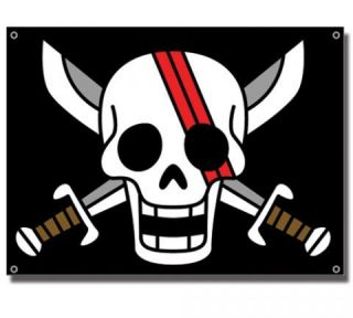 Flag One Piece New Shank Logo Sign Pirates Black Anime