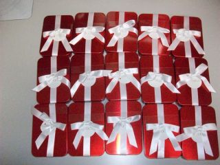 New Set of 15 Give A Gift Red Gift Card Tins Boxes Holders with White