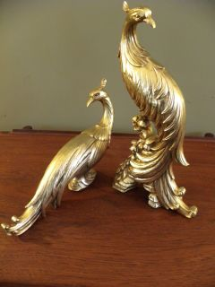 Hollywood Regency Vintage Gold Peacock Figurines
