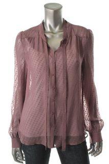 Gold Hawk New Purple Silk Dot Long Sleeve Button Front Top Blouse M