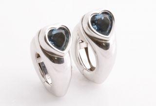 New PIAGET 18K White Gold London Blue Topaz Heart Hoop Clip Earrings w