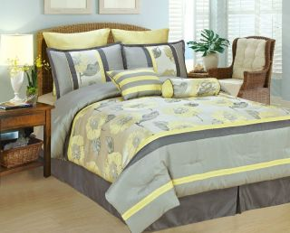 Yellow Light Gray Peony Bed in A Bag Comforter Set Queen Size
